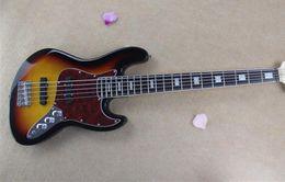 Wholesale custom jazz bass - Rosewood & Ebony Fingerboard *** New Arrival Factory Custom Sunburst 5 String Jazz Bass Guitar Free Shipping