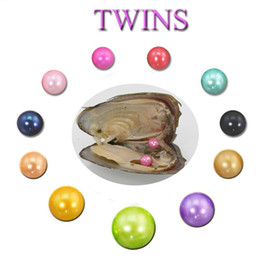 Wholesale Pearl Akoya White - 2018 DIY 6-7mm Freshwater akoya oyster with Twins pearls Mixed 25 colors Top quality Circle natural pearl in Vacuum Package For Jewelry Gift