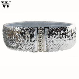 Wholesale Silver Dress Belt Accessory - Fashion Vintage Manual Sequins Elastic Belts for Women Dress Accessories ceinture femme Amazing JL 25