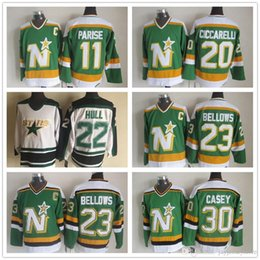 Tiempo en estrella online-Dallas Stars Jerseys CCM Old Time Hockey sobre hielo 11 JP Parise 20 Dino Ciccarelli 23 Brian Bellows 30 Jon Casey Jersey Local Visitante