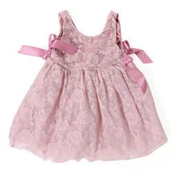 2019 niña de moda vestidos rosa Nueva llegada de los bebés vestidos de los niños sin mangas de encaje partido de la princesa rosa vestido con arco moda de los niños ropa rebajas niña de moda vestidos rosa