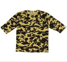 Canada 2018 hommes concepteur ape t-shirts pull camouflage brodé autour du cou col t-shirt à manches moyennes hommes occasionnels lâche manches cinq points lâches Offre