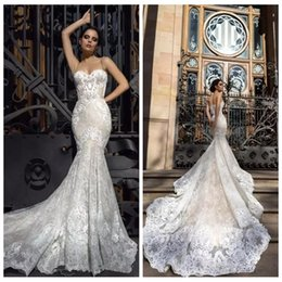 Wholesale Best Spaghetti - Spaghetti Strips Full Lace Mermaid Wedding Dresses Best Fitted 2018 Berta Slim Robe De Soiree Arabic Sexy Bridal Gowns with Court Train