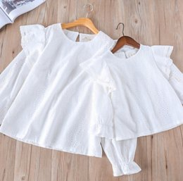 Wholesale Womens White Shirts Collar - Mother and dauther T-shirt Spring girls lace hollow embroidery falbala tops womens round collar flare sleeve Tees new family clothing R2224