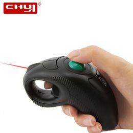 Laser portátil on-line-CHYI Sem Fio Trackball Mouse Ergonômico 2.4G 1000 DPI Mouse Handheld Com Laser Pointer Air Mouse Mause Para PC Laptop TV Projetor