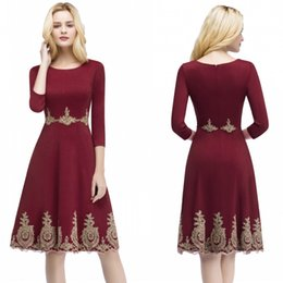 Wholesale Power Knee - Babyonline New Arrival Burgundy With Gold Appliques Homecoming Dresses 2018 A Line 3 4 Long Sleeves Mother Dress Evening Gowns Short CPS874