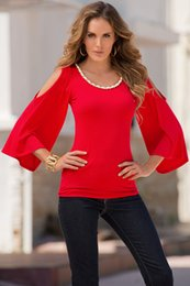 abra o ombro camisetas Desconto 2018 Verão Explosão Cor Sólida Mulheres Vermelho Fora Do Ombro Casual T-Shirt Em Torno Do Pescoço Moda Aberta Top Simples Magro