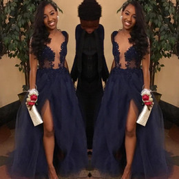 Wholesale Sheer Top Prom Dress - Navy Blue Couple Fashion Prom Dresses 2018 Sheer Illusion Top Split Evening Gowns Tulle Floor Length Appliques Plunging V Neck vestidos