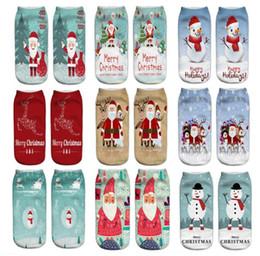 biancheria intima delle ragazze stampate Sconti Calze di Natale carino 3D Stampato Babbo Natale calze da barca pupazzo di neve buon natale Renne caviglia corta calze da donna ragazze intimo