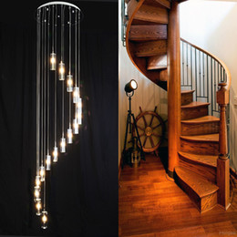 Wholesale Crystal Hall - 110-240v Minimalist Fashion Transparent K9 Crystal long Block S-shaped Duplex Staircase Pendant Chandelier Lighting G4 Lamps Light For Hotel