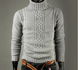 Maglioni di lino online-Uomini Maglione Alta risvolto pullover jacquard Maglione Uomini Lino Collo Maglione Uomini ClothesAutumn Inverno Moda Solid vestiti di colore