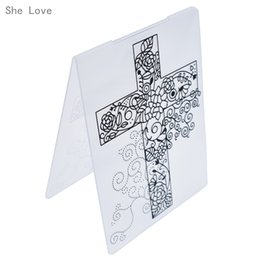 love flowers photos Coupons - Stamps She Love Cross Flower Vine Plastic Embossing Folder Template for Scrapbook Photo Album Christmas Card Cutting Die Template Decor