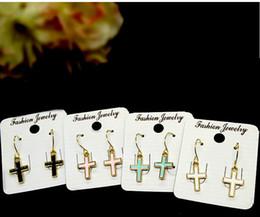 Wholesale Dangle Diamond Cross Earrings - Music note Shape Crosses Earrings Cute alloy studs with Diamonds 8 styles Pendant Earrings best gift for girls to party