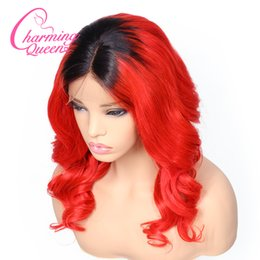 red hair color hairstyles Coupons - T1B Red Loose Wave Lace Front Human Hair Wigs For Black Women Remy Hair Ombre Pre Plucked Lace Wig With Baby Hair
