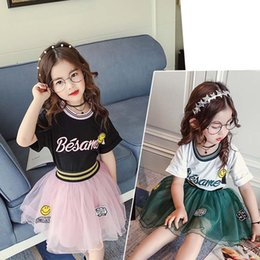 Wholesale cute korean fashion clothes - 2018 new Summer Girls Outfits Korean Fashion T shirt Tutu Skirts 2pcs sets Princess Children Suit Kids Sets kids clothing kids clothes A1626