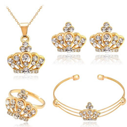 Wholesale Golden Crown Necklace - New Fashion Women Jewelry Set Crown With Crystal Necklace Bracelet Earrings Ring Set Wedding Statement Jewelry