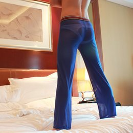 Wholesale Temptation Male - Sexy pants the temptation to male gauze trousers casual pants trousers transparent lounge fashion style men