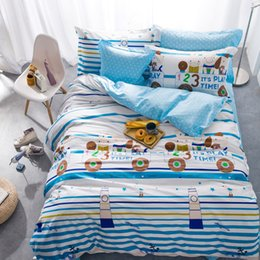Wholesale Boys Crib Bedding Set - Striped Cartoon Kids Boys Bedding Set 100% Cotton Modern Queen Size Stripe Bed Duvet Cover Bed Sheet Linen Pillow