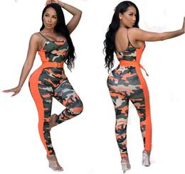 2019 macacões femininas Mulheres Casuais Macacão 2018 Sexy Romper Do Exército Camuflagem Bodysuit Bodycon Calça Comprida Sem Mangas Esporte Terno Playsuits Roupas desconto macacões femininas