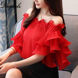 Wholesale korean fashion shirts blouses - Dingaozlz women clothing fashion office lady tops elegant female ruffle stitching chiffon blouse shirt korean 2018 new