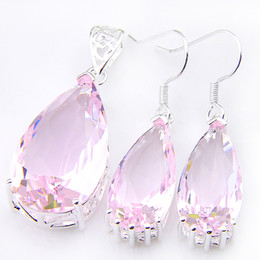 wholesale pink topaz jewelry Coupons - Trend Style 925 Silver Fashion Jewelry Set Wedding Drop Pink Topaz Earrings Pendants Wholesale Jewelry Sets