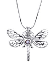 Wholesale silver dragonfly necklace pendants - Hot Sale Silver plated Dragonfly Shape Cage Pendant Wish Love Pearl Pendant Lady Girl Good Gift P68