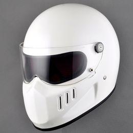 Wholesale Casco Vintage - Fiberglass full Face Motorcycle cruiser helmet with shield for Vintage Cafe racer casco retro