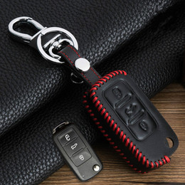 Wholesale Key Volkswagen Passat - Special offer leather car key case cover for Volkswagen VW Jetta MK6 Tiguan Passat Golf 4 5 6 POLO cc bora for Skoda 3 buttons Hand made Hot