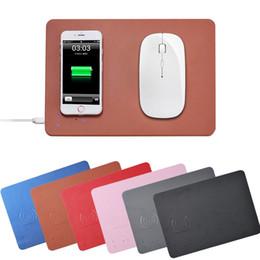 QI Cargador de Ratón Inalámbrico Almohadilla de Ratón Ordenador de mouse pad Carga Rápida Ultra Delgada Cuero de PU Para iphone8 X Xs Max Xr ratón de carga inalámbrico S9 desde fabricantes