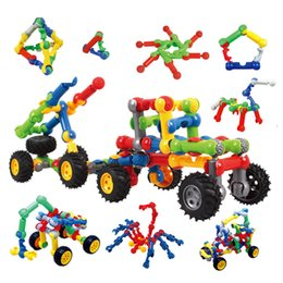 Wholesale Geometry Puzzle - A Small Bachelor Degree ABS Puzzle Peanut Shaped Building Blocks Children Plastic Fun Toys Plug Geometry Car 10 4bl W