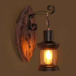 Wholesale Mediterranean Bedside Lamps - American Pastoral Style Bedroom Bedside LED Wall Light Creative Personality Retro Industrial Aisle Loft Boat Wooden Wall Lamp
