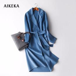 Casacos de caxemira de lã feminina on-line-2018 Outono Inverno jaqueta Mulheres Puro Handmade cashmere vestido 100% casaco de lã mulheres trenchcoat cashmere elegante longo casaco