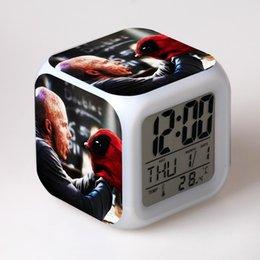 оптовые подсвеченные часы Скидка Wholesale New cartoon Deadpool relogio digital de led colorido 7 Color Flash Alarm Clock Kids Bedroom Night Light Clocks Watch