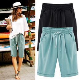 b3e9ba23f9 Pantalones cortos Mujeres Hot Summer Cordón Waistband Pantalones cortos  chinos Pantalones Cortos Mujer Short Femme Tallas grandes M-6XL Bermuda  Feminina