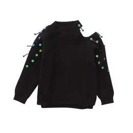Wholesale Boys Knitwear Clothing - Girls Clothing 2017 Autumn Winter Children Fashion Strapless Sequins Black Sweaters 3T-12T Kids Outerwear O-neck Knitwear