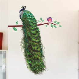 Wholesale poster art deco - % Zoo Peacock Animals Flower On Branch Feathers Wall Stickers 3d Vivid Wall Decals Home Decor Art Decal Poster Animals Home Deco