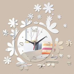relógios de flores de acrílico Desconto 2018 New hot flowers relógios de parede 3d moderno Reloj De Pared Grandes Relógios Acrílico criativo home decor relógios art frete grátis