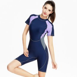 d65bc9ee7c Swimsuit Women 2017 One Piece Professional Short Sleeve Swimwear Sports Racing  Competition Full Brief Knee Bathing Suit XXXL swimsuits competition swimwear  ...