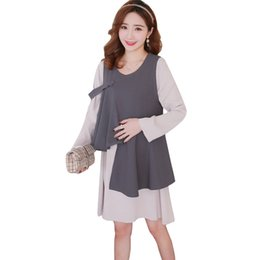 Wholesale Maternity Korean - Maternity dress spring suit fashion chiffon dress for pregnant women in two sets of long Korean version p6