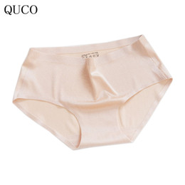 Wholesale Thin Lace Panties - QUCO Brand Underwear Women Lace Briefs Ultra-thin Comfort Low Waist Seamless Solid 2018 New Panties hot sale W7