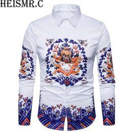 Футболки бренды фарфор онлайн-2018 Mens  Shirt ,3D China Dragon King Print Shirt,Men's Long Sleeve Dress Shirts Man Luxurious Shirt Chemise Homme BDK98