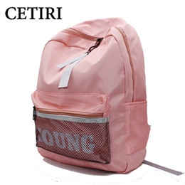Wholesale Japanese Pink Girls - CETIRI Backpack Pink women bag Ulzzang Japanese Harajuku canvas Nylon bag school girl backpack large kawaii young travel sac