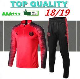 18dc492ceb Top quality 2018 terno de treinamento de futebol PSG manga longa MBAPPE  CAVANI Jerseys 17 18 19 maillot de pé paris jaqueta de futebol treino  conjunto s 17 ...
