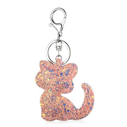 Flap Hand bag Bling Sequins Teddy Bear Car key Chain Rings Pendant Charm Finder