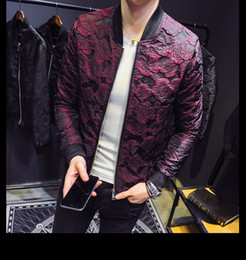 57797455f1189 2018 Autumn New Jacquard Bomber Jackets Men Luxury Wine Red Black Grey Party  Jacket Outfit Club Bar Coat Men Casaca Hombre 4XL