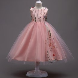 Wholesale Black Wool Crepe - Flower Girl dresses Children Princess Dress Sleevelesss Pink Petals Mesh Floral Girls Dress Fashion Baby Girl Wedding Party Dresses