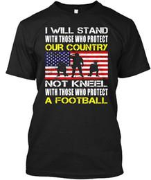 Bandeiras stands on-line-Afligido Eu Fico Para A Bandeira Americana Não Se Ajoelhar - Atacado Legal Casual Mangas de Algodão T-Shirt Da Moda Nova T Shirts Tagless Tee T-Shirt