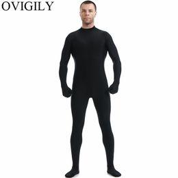 capuz zentai Desconto OVIGILY Mens Preto Full Body Zentai Terno Spandex Lycra Gola Alta Bodysuits Nylon Skin Collants Uniformes Bodysuits Cosplay No Hood