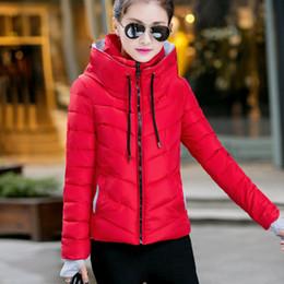 İnce Kısa Palto Parka Casual Bayanlar Ceketler Kış Fermuar Moda Pamuk-yastıklı Coats Kadın Ceketler Temel Sıcak Dış Giyim FJT307 cheap cotton fashion coats for ladies nereden bayanlar için pamuk moda katları tedarikçiler