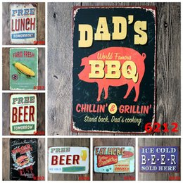 Wholesale Paint Signs - 20x30cm free beer eat lunch bbq Retro Iron painting metal tin signs wall decoration plaque vintage metal painting pub bar home craft decor